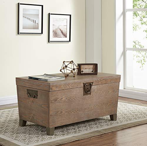 SEI Furniture Pyramid Storage Trunk, Coffee Table, Lightly Cerused Burnt Oak