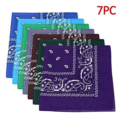 Lowest Prices! 7 Piece Bandanas Paisley 100% Cotton Bandanas Paisley Head Wrap with Tube Face Mask/H...