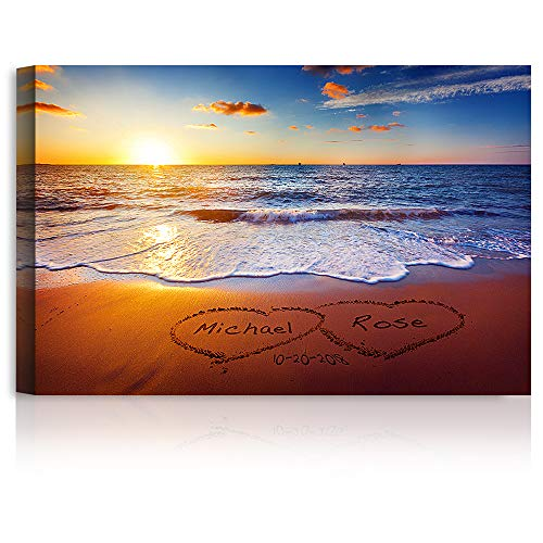 Love on Beach Heart in Heart Personalized Canvas Prints Artwork with...