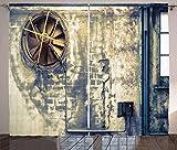 ABAKUHAUS Industrial Cortinas, Wall destrozado, Sala de Estar Dormitorio Cortinas Ventana Set de Dos Paños, 280 x 225 cm, Multicolor