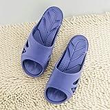 SYWJ Pantuflas de algodón Antideslizantes Zapatos de Playa, Ducha, Gimnasio, Chanclas, baño, Drenaje Antideslizante, Fondo Suave, silencioso, Antideslizante, Zapatillas de casa-Blue_39-40, Suelas
