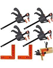 Juego de 6 abrazaderas de ángulo recto de posicionamiento cuadrado de 10 cm y 90 grados y abrazaderas de barra de agarre rápido en forma de F, ideales para proyectos de carpintería y bricolaje