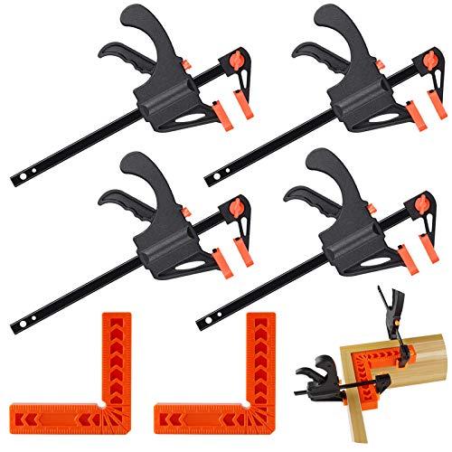 Lot de 6 équerres de positionnement à angle droit 90 degrés 10,2 cm et pinces en forme de F à prise rapide, idéales pour le travail du bois et les projets de bricolage