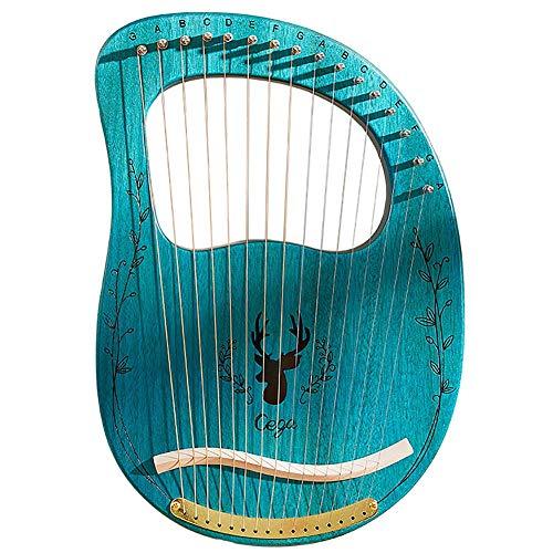 Cakunmik Arpa, Instrumento de Cadena portátil de 16 Cuerdas Arpa de Madera Maciza con Teclas de Ajuste de Caja adecuadas para Principiantes de música, Azul