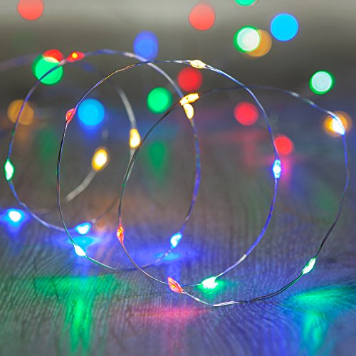 Lights4fun 20er LED Draht Micro Lichterkette bunt Batteriebetrieb