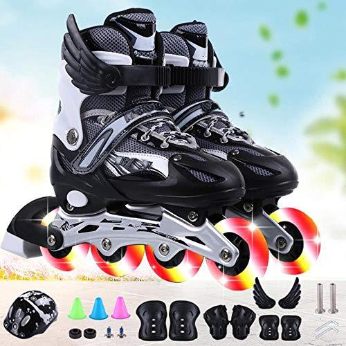JKlb Kinder Männer und Frauen Einstellbare Full Flash Inline Rollschuhe Set Inklusive Helmschoner Skates Einreihige Rollschuhe PU Mesh Schwarz_L 37-42