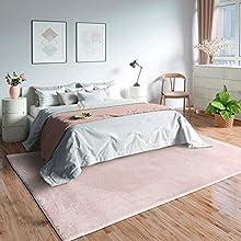 MIA´s Teppiche Olivia - Alfombra de salón, 100% poliéster, Color Rosa, 160 x 230 cm