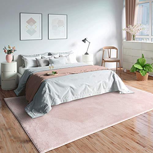 Mia´s Teppiche Olivia - Alfombra de salón (Pelo Corto, 120 x 170 cm), Color Rosa