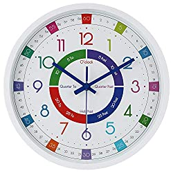 JoFomp Telling Time Teaching Clock | 12 inch Educational Wall Clock for Kids Learning Time, Silent Non-Ticking Quartz Decorative Wall Clock for Teacher's Classrooms or Children's Bedrooms (White)
