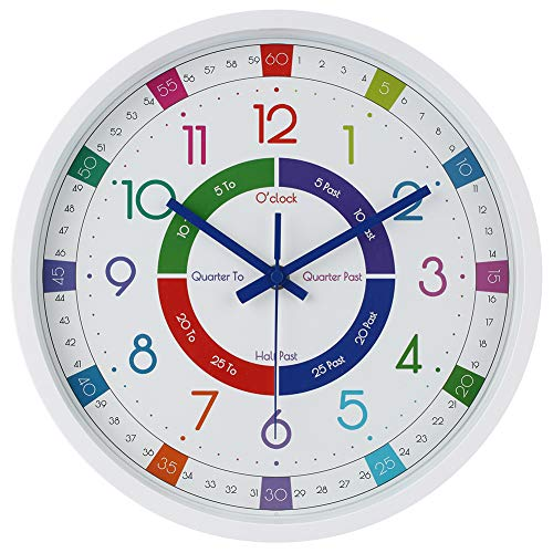 JoFomp Telling Time Teaching Clock | 12 inch EducationalWall Clock for Kids Learning Time, Silent Non-Ticking Quartz DecorativeWall Clock for Teacher's Classrooms or Children's Bedrooms (White)