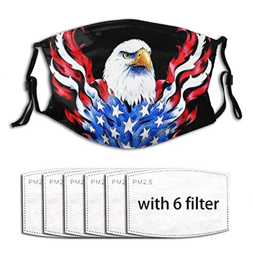 American Flag and Bald Eagle Patriotic Black Face Mask with Filter Pocket Washable Reusable Face Bandanas Balaclava with 6 Pcs Filters
