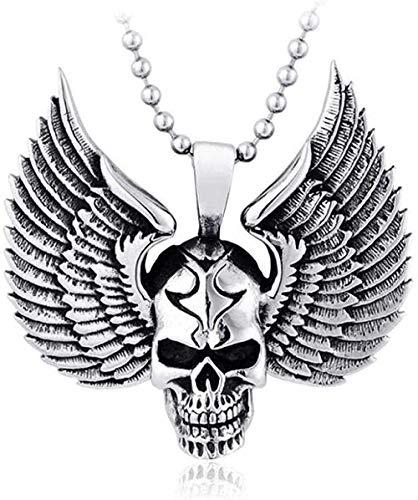 Mxdztu Co.,ltd Collar Biker Skull Wings Angel Feather Acero Inoxidable Party Men S Women S Colgante Collar para Mujeres Hombres