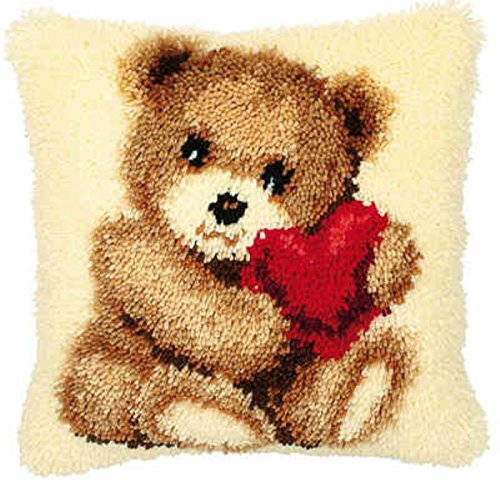 Beyond Your Thoughts DIY Latch Hook Kit Throw Pillow Case Custion Covers Bear with Hearts BZ109