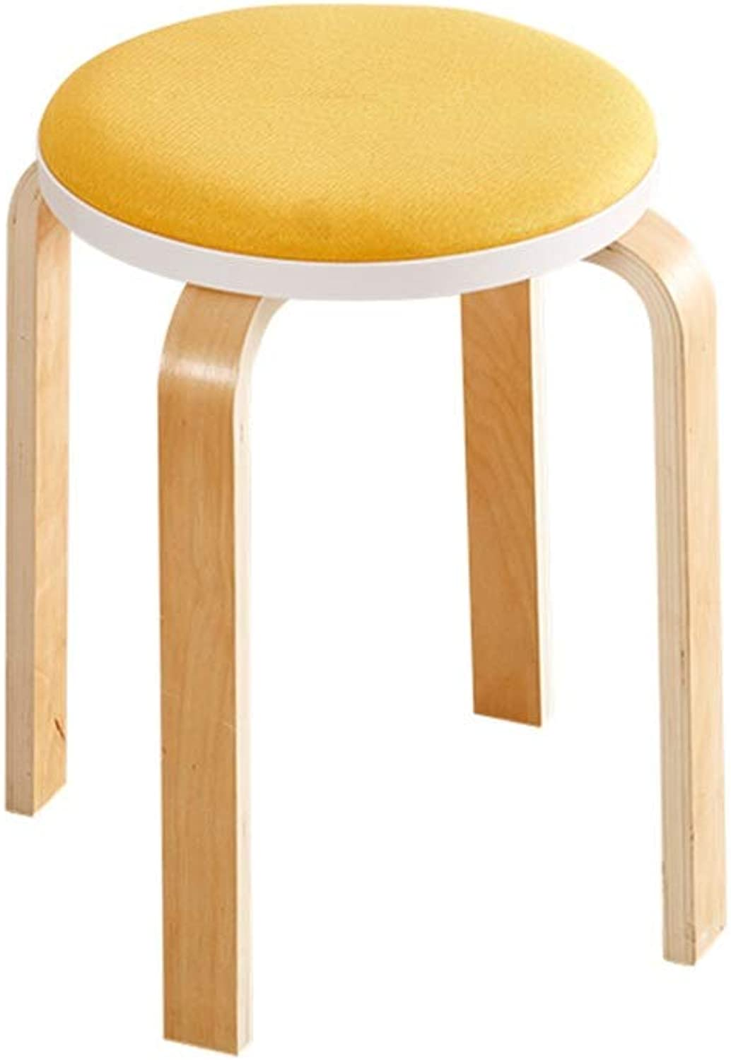 Living Room Chair, Kitchen Dining Table Dining Stool Restaurant Hotel Small Stool Bench Wood Cloth Arts High Stool (color   Yellow)