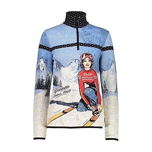CMP Damen Knitted Print Pullover, Nero-Azzurro, EU 34