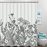 Ikfashoni Floral Bordüre Duschvorhang mit 12 Haken Kräuter Wildblumen Duschvorhang Schwarz Wasserdicht Stoff Badvorhang für Badezimmer 69x70Inches grau
