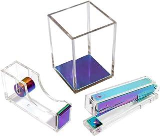 Multibey Acrylic Desk Organizers Set - 4 in 1 Include Tape Dispenser Stapler Sticky Pad Holder Desk Organizer Accessories ...