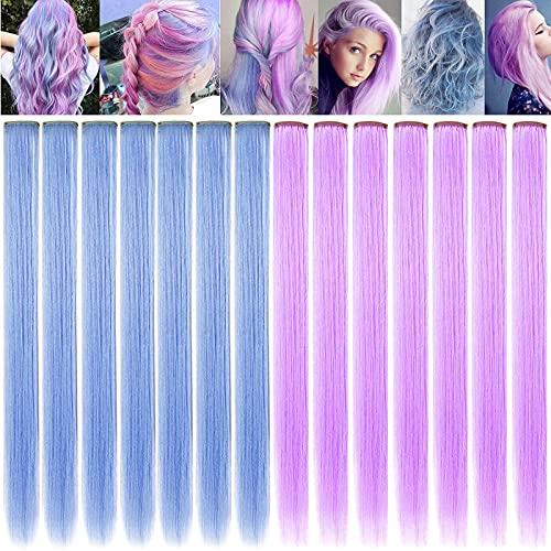 FAIRY COLOR 14PCS Princess Bunte Erweiterungen Mehrfarbige Party-Highlights Streifen Synthetische Haarteile Clip-In / Clip On Farbige Haarverlängerungen (hellblau hellviolett)