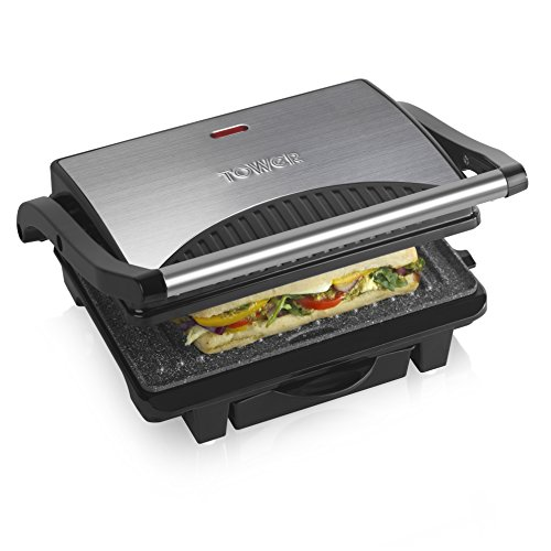 Tower Large Health Grill and Griddle, Stainless Steel with Cerastone Coated Non-Stick Plates, Cool Touch Stainless Steel Handle, Indicator Light and Non-Slip Feet, 1000 W, Black