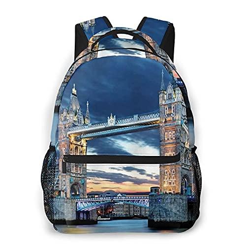 Zaino per laptop casual Borsa da scuola Zaino da viaggio Zaini piccoli Borse per libri Zainetto, Tower Bridge a Londra, Regno Unito Per tutte le stagioni Unisex Grande capacità Resistente Scuola Outd