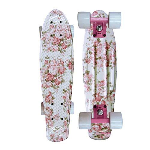 ZEH Komplettes 22-Zoll-Mini-Kreuzer Skateboard for Jugendliche Anfänger oder Kinder, Professional mit hohem Rückprall PU-Räder, Blau FACAI (Color : Pink)