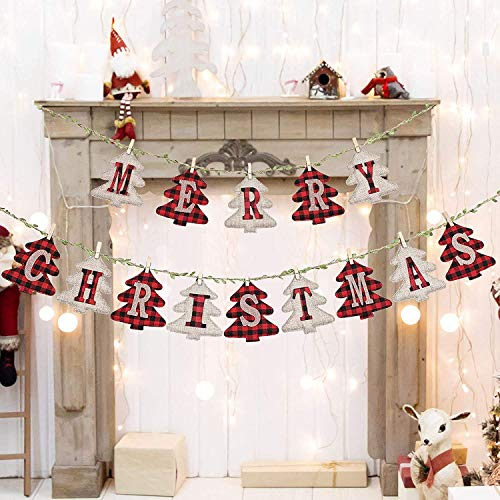 LessMo Merry Christmas Banners, Pine Shaped Christmas Burlap Banners, Outdoor Indoor Vintage Hanging Decorations, for Christmas Party Wall Tree and Fireplace