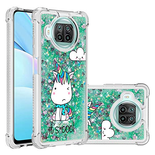 Miagon Liquid Clear Case for Xiaomi Mi 10T Lite,Soft Glitter Shockproof Cover Floating Bling Sparkle Shiny Heart Quicksand Liquid Clear Protective Case Cover-Green Unicorn