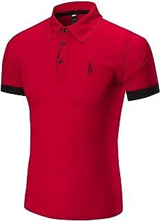 0d640517b9 QinMM Hommes Polo Sport Affaires T-Shirt Chemise à Manches Courtes Cerf  Broderie, Mode