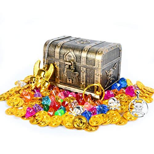 EKKONG Piratenschatz, Piraten Goldmünzen Schmucksteine Set, Schätze für Schatzsuche, Schatzkiste (Klein)