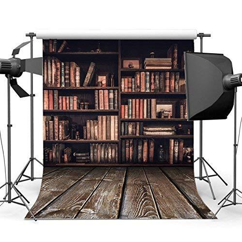 vrupi 5X7FT 150X210cm Estante para Libros Fondo Interior Librería Vintage Libros mágicos Grunge Rayas Piso Madera Shabby Biblioteca Antigua Fotografía Vinilo Fondo 10583