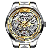 Mens Automatic Watch Skeleton Watches for Men Stainless Steel Day Date Waterproof Mechanical Wrist Watches Gifts for Men Swiss Brand (Two Tone - Gold Dial-)
