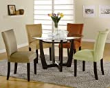 Coaster Home Furnishings Round Dining Table with Glass Top Cappuccino Finish