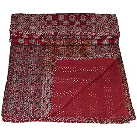 Vintage Ajrakh Kantha Quilt Blanket Indian Bedspread Coverlet Throw Art