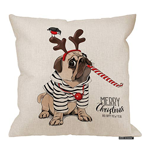 HGOD DESIGNS Christmas Pillow Cover,Funny Striped Cardigan Pug Dog in Funny Party Whistle Blowing Cotton Linen Cushion Covers Home Decorative Throw Pillowcases 18x18inch