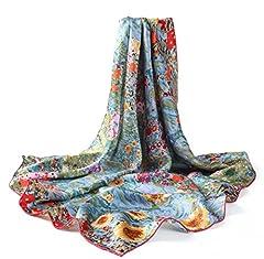Idea Regalo - prettystern P636-90cm Stampa Art Nouveau Sciarpa di Seta Dipinto - Gustav Klimt - Giardino di Campagna Con Girasoli