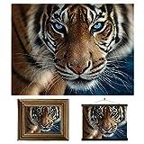 3D LiveLife Lenticular Cuadros Decoración - Ojos azules de Deluxebase. Poster 3D sin marco de tigres. Obra de arte original con licencia del reconocido artista, Steve Sundram