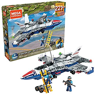 Mega Construx Fighter Jet Construction Set with Character Figures, Building Toys for Kids (223 Pieces)