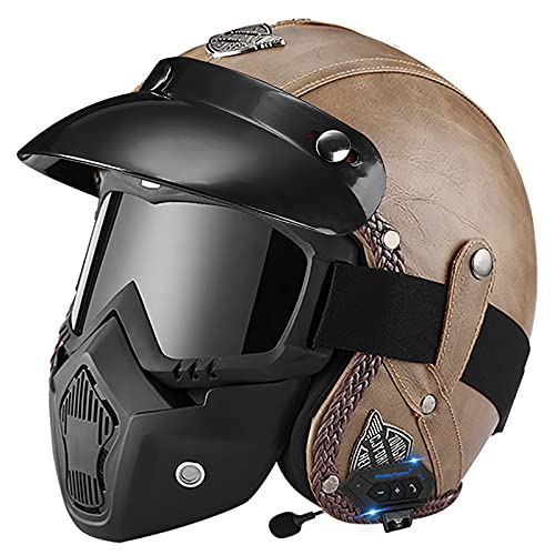 Cascos abiertos con Bluetooth Medio casco de motocicleta, casco con gafas de piloto de motociclista Cascos de crucero de turismo y scooter Casco mediano Aprobado por DOT/ECEcm 2,XL=61-62CM