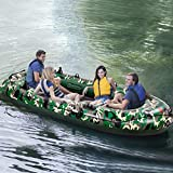 10FT Inflatable Boat with Hard Air Deck,4-Person Inflatable Pontoon Dinghy Raft Yacht with 2 Paddles,3 Layer Fishing Tender Kayak Canoe for Pool/River/Drifting/Lake/Beach/Ocean (Green)