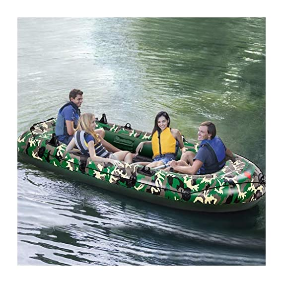 intent_Side 10ft Inflatable Boat Series Explorer Touring Kayak Canoe Boat Set 4-Person PVC Inflatable Rafting Fishing Dinghy Tender Pontoon Boat with Paddles and Air Pump for Water Sports Fun 1 ➤【Qualified Material】: Our inflatable boat is made of durable 3x Layer PVC material which is saline-alkali and sunshine resistance, anti-aging and corrosion resistance, with a soft inflatable floor that is not easily scratched by sharps and provides long-term water entertainment. ➤【No Leak】: Our inflatable boats are Designed with 3 independent air tubes, made from the highest quality 1100D PVC fabric available to ensure your safety. Thermal bonding seams provide first-class air retention and fine manufacturing processes to ensure no leaks which is the mix of security and practicality. ➤【Have Fun on Water】: This is a dinghy that can be rowed, sailed and motored. Take a breath, put this portable dinghy in the truck of your car, take your family or friends, have a pleasant drifting on the lake or a exciting surfing on the sea.