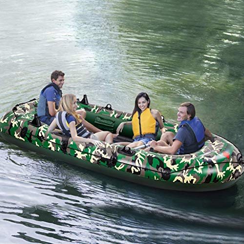Baohooya 10Ft Inflatable Boat for Adults 4 Person, 700Lb Capacity Camouflage Touring Kayak with Paddles and Air Pump, Inflatable Rafts for Adult Floating Fishing Rafting Water Sports, US Stock