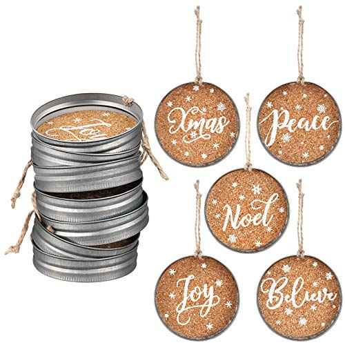 Ferraycle 10 Pieces Christmas Mason Jar Lid Tree Decorations Farmhouse Christmas Ornament Galvanized Hanging Decoration Jar Lids for Christmas Party with Peace Joy Noel Believe Xmas, 5 Designs