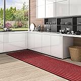 Color&Geometry Alfombra de Cocina Antideslizante, Lavable con Respaldo de Goma, Alfombra de Corredor de Cocina Duradera y Larga para Pasillo, Cocina, Entrada (44 cm x 200 cm, Rojo)