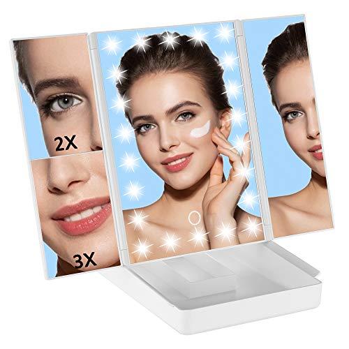 GERUIKE Espejo Cosmético con 2X 3X Lupa, Espejo de Maquillaje con Luz LED, Espejo de Mesa Giratorio 180°, 3 Lados Espejo, Fuente de Alimentación Dual, para Maquillaje y Afeitado