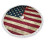SSLife Patriotic American Flag Christmas Tree Skirt Xmas Tree Skirt Christmas Decorations for Xmas Festive Holiday Ornament New Year Party 30'' 36'' 48