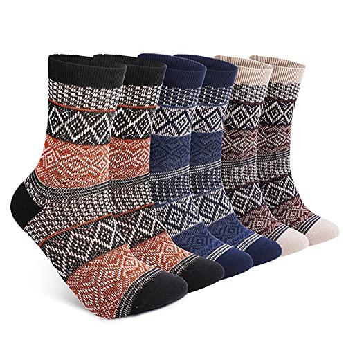 6 Pack Warm Cotton Socks for Men and Women, Luckit Winter Cabin Socks Men, Vintage Fall Patterned Socks Unisex Knit Thick Cozy Socks