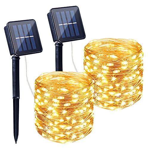 ITICdecor Solar Lichterkette Außen 2 Stück 10M 100LED Wasserdicht Kupferdraht Lichterkette für Garten,Terrasse,Bäume,Hochzeit,Party,Valentinstag Dekoration (Warmweiß)
