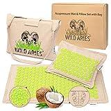 Wild Aries - Tappetino per agopressione con cuscino e borsa, 100% lino, in cotone e fibra di cocco, per rilassare i muscoli, massaggio riflessologia del piede