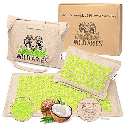 Akupressurmatte mit Kissen und Tasche - Wild Aries - Massagematte aus 100% Leinen - Baumwolle - Kokosfaser Buchweizenschalen - Akupunkturmatte - Muskel Entspannung Geschenk für Frauen und Männer