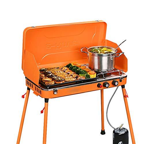 GU YONG TAO Outdoor Draagbare Dual-Burner Camping Gas Grill, Lichtgewicht Kluis - met Voorruit Barbecue Tray, Past bij Camping, Vissen, Koken
